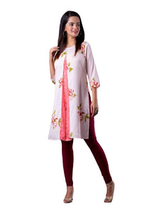 White and Peach Floral Print straight 3/4th Sleeve Kurti