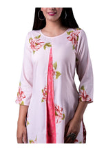 Load image into Gallery viewer, White and Peach Floral Print straight 3/4th Sleeve Kurti