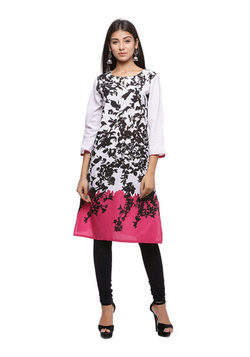 White black and pink floral 3/4th sleeve straight kurti