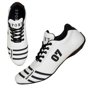 White & black striped bowling shoes