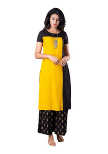 Yellow and Black Solid Color Block Straight Half Sleeve Kurti