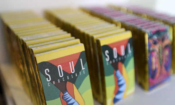 soul chocolate bars lined up one behind the other