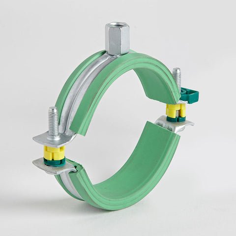 green rubber lined pipe clips