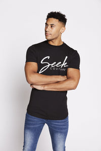 flash-price - Seek Mens 'Script' T Shirt - Black - Seek - Tops