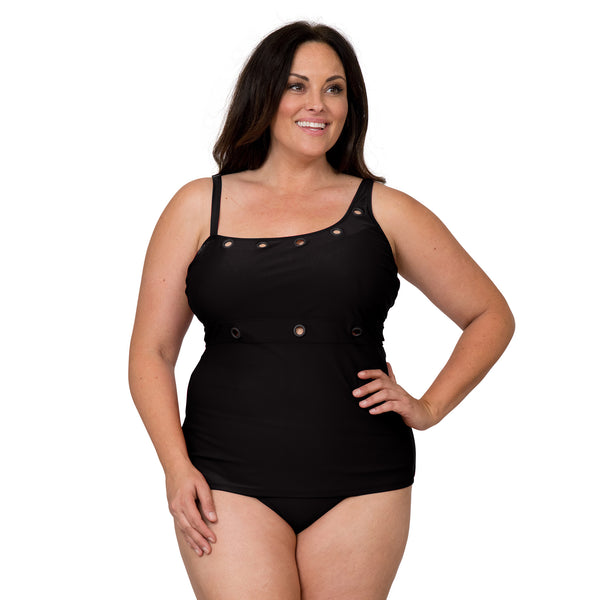 Nicole Miller Women's Plus Size Eyelet Tankini Swimsuit Set