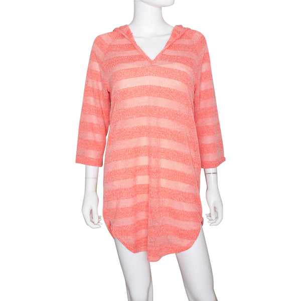 Jordan Taylor Women's Pullover Striped Hooded Cover-Up Dress