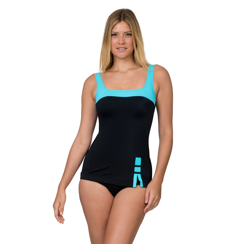 Fit 4 U Women's Sporty 1 Piece Swimsuit with Teal Elements