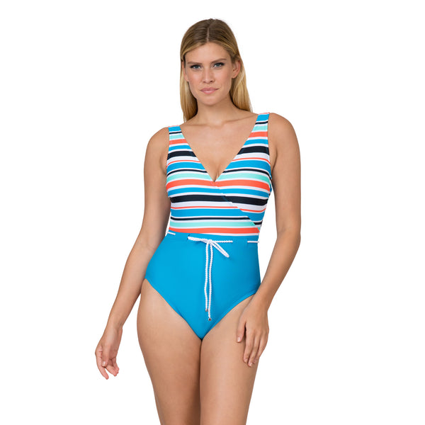 Sol Collective Women's Striped Surplice Style 1 Piece Swimsuit