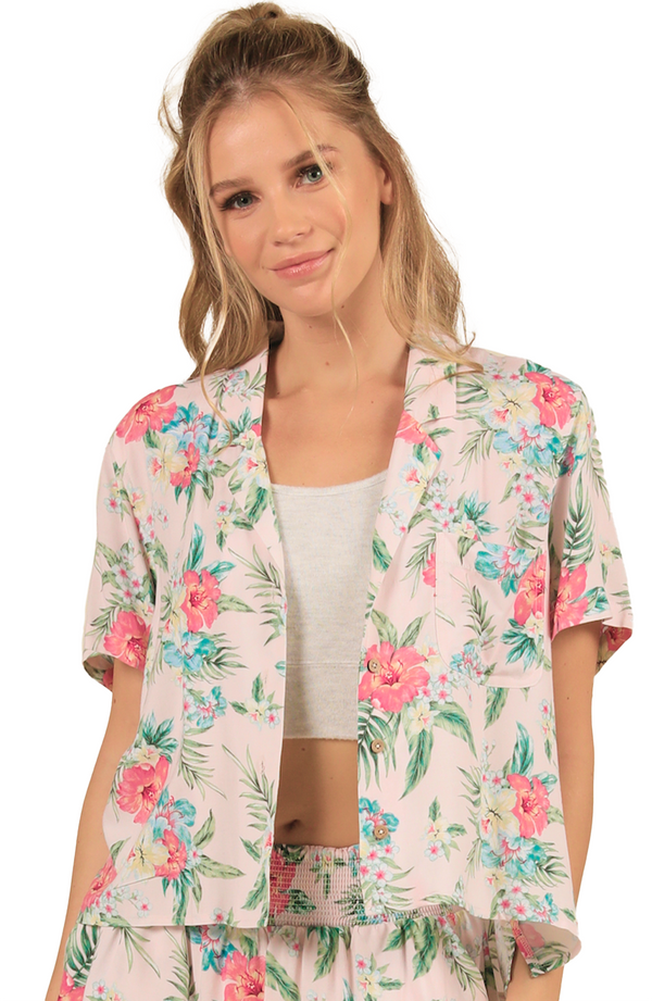 Ocean Drive Rayon Tie Front Button Up Top