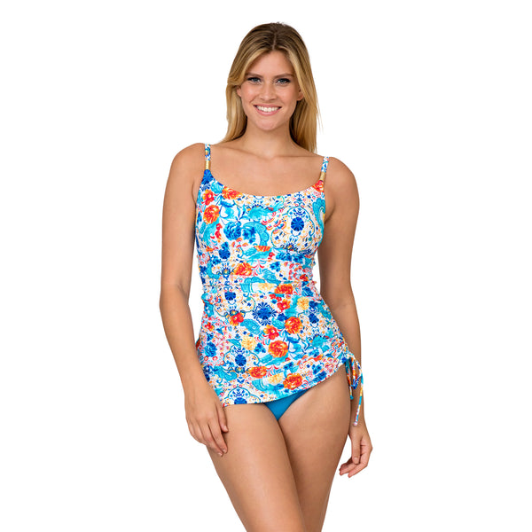 Sol Collective Women's Aqua Botanical 1 Piece Swimdress Style Swimsuit