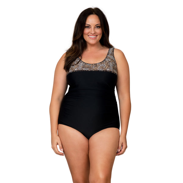 Caribbean Sand Women's Plus Size High Fashion 1 Piece Leopard Swimsuit