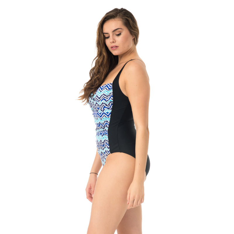 On the Beach One Piece with Black Panels on the Side