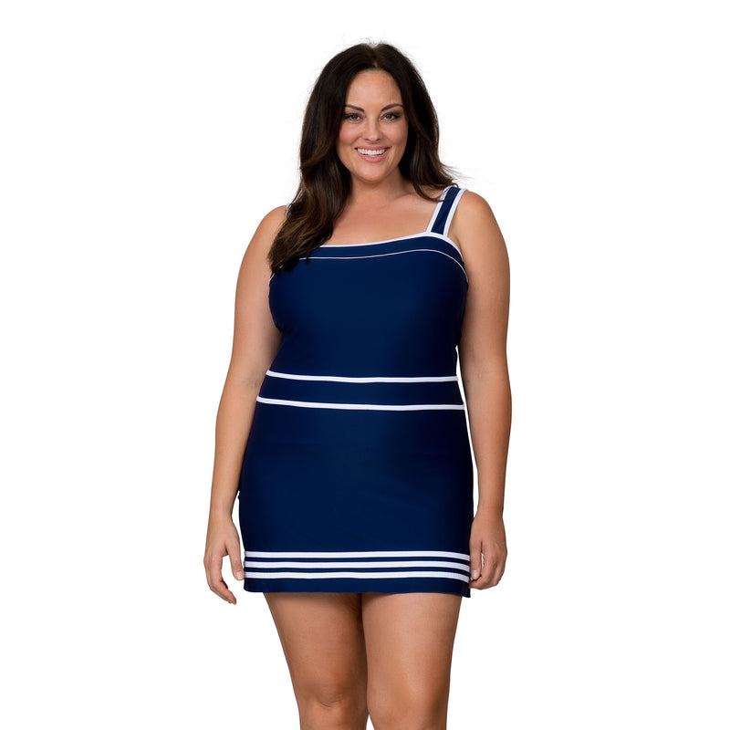 Caribbean Sand Women's Plus Size Nautical Swimdress Style Swimsuit