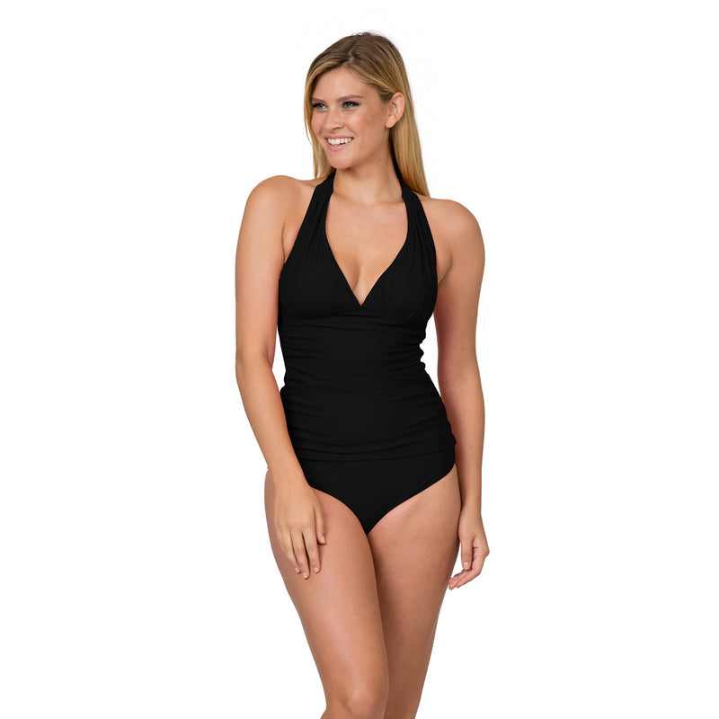 On The Beach Women's Contemporary Solid Halter Tankini Swimsuit Set