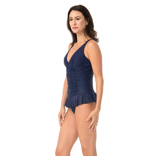 Caribbean Sand Women's 1 Piece Swimdress Style Navy Swimsuit