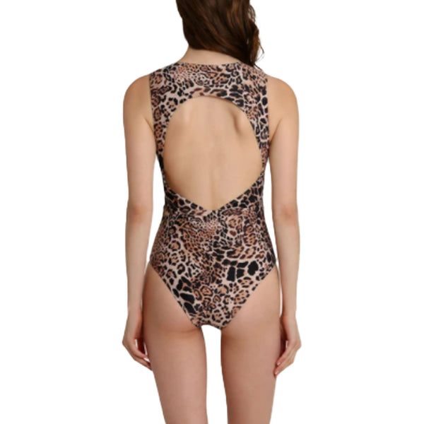 Letarte Low Neck One Piece Leopard Print