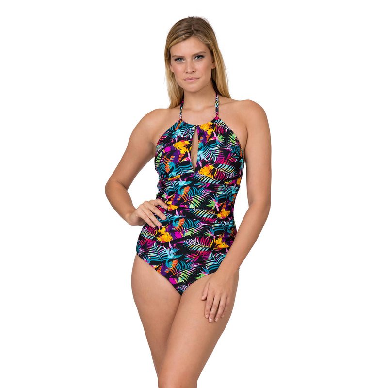On The Beach Women's Contemporary High Neck Print 1 Piece Swimsuit
