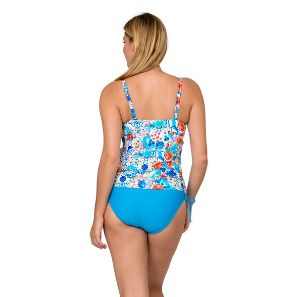 Sol Collective Women's Aqua Botanical High Neck Tankini Swimsuit Set