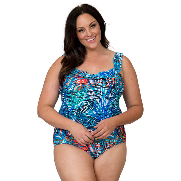 Nicole Miller Women's Plus Size Ruffle Scoop Neck 1 Piece Swimsuit