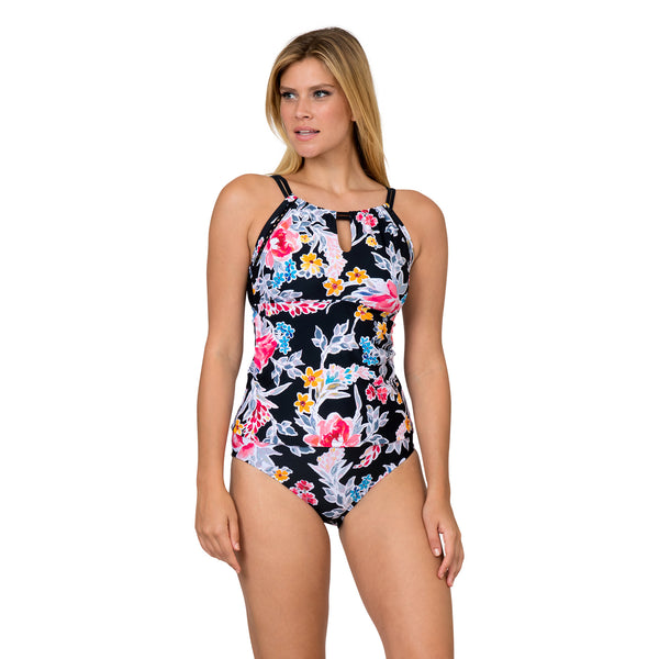 Sol Collective Women's Bold Bloom High Neck Tankini Swimsuit Set