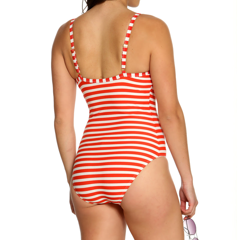 Women's Orange & White Striped 1 Piece Swimsuit