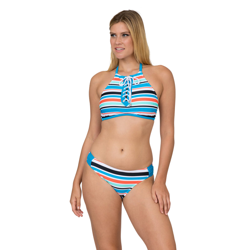 Sol Collective Women's High Neck Striped 2 Piece Swimsuit Set