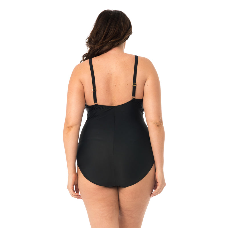 Caribbean Sand Women's Plus Size High Fashion 1 Piece High Neck Swimsuit