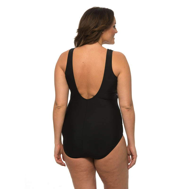 Caribbean Sand Women's Plus Size Crossover 1 Piece Swimsuit with Mesh Details