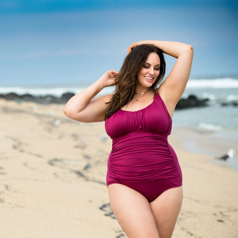 Caribbean Sand Women's Plus Size Ruched Maroon 1 Piece Swimsuit