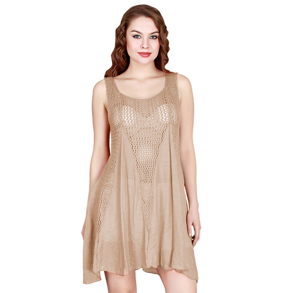 India Boutique Solid and Net Sleeveless Cover Up