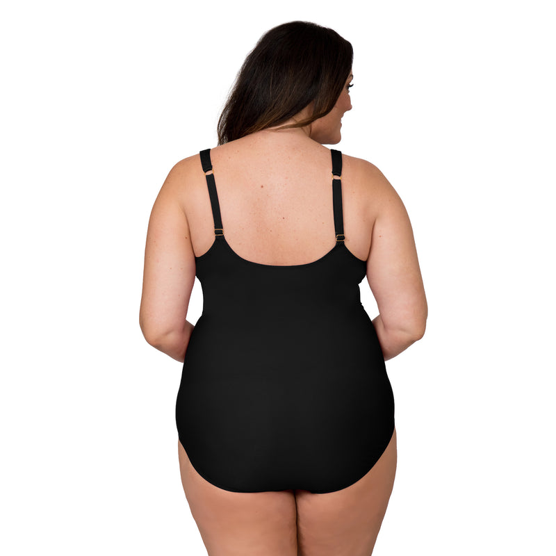 Nicole Miller Women's Plus Size Eyelet 1 Piece Swimsuit