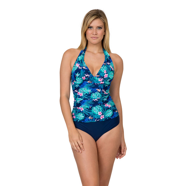 On The Beach Women's Contemporary Print Halter Tankini Swimsuit Set