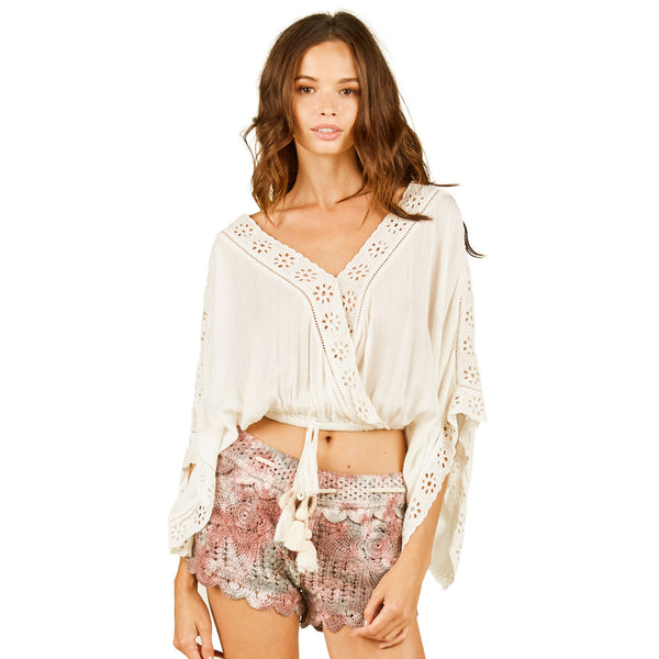 Surf Gypsy Eyelet Emb Tie Front Top
