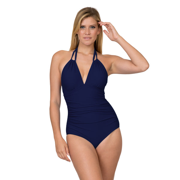 On The Beach Women's Contemporary High Neck Solid 1 Piece Swimsuit