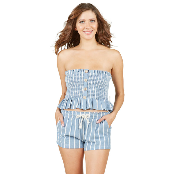 Ocean Drive Linen Striped Smocked Button Tube Top