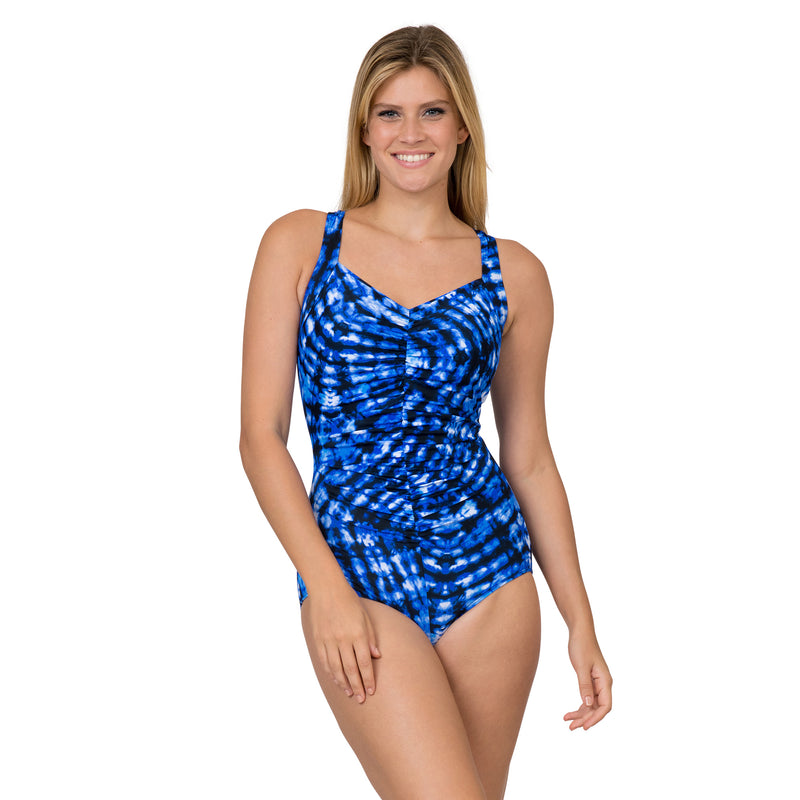 Fit 4 U Women's Blue Tie-Dye Ruched 1 Piece Swimsuit
