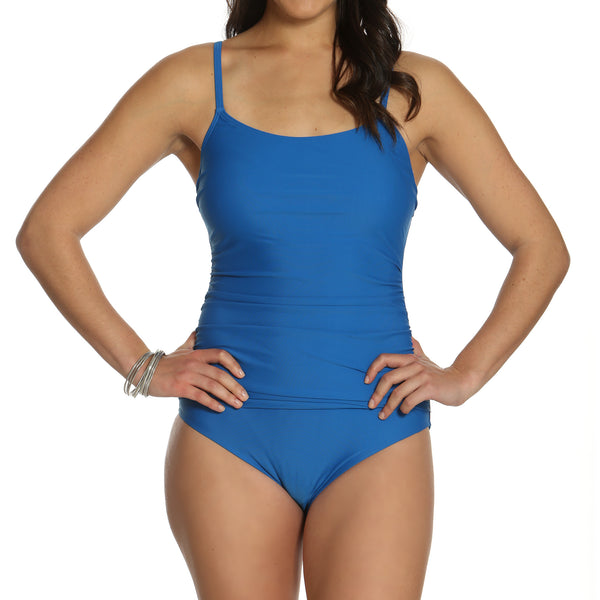 Women's Solid Blue Fauxkini 1 Piece Swimsuit
