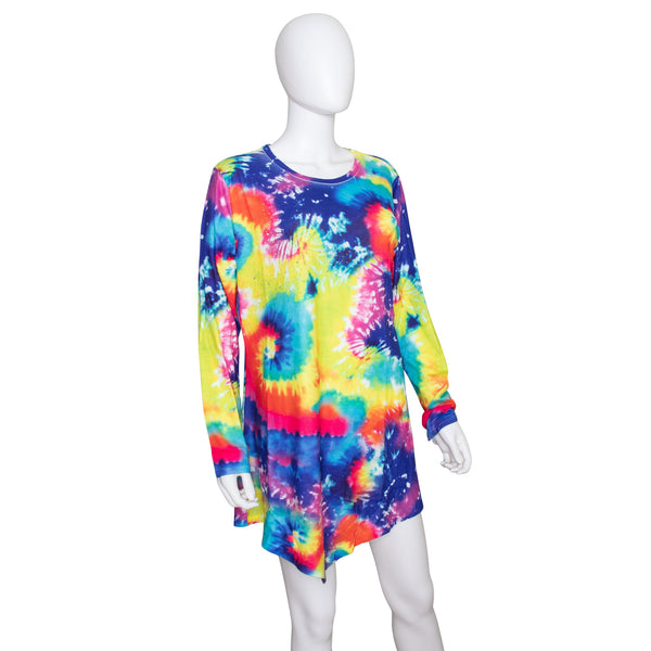India Boutique Long Sleeve Tie Dye Dress Cover Up