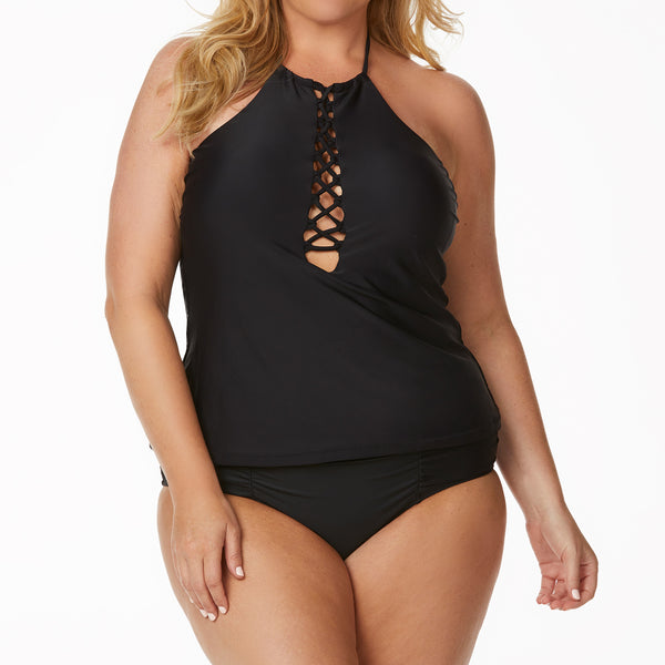 Raisins Women's Plus Size Black Macrame Tankini Swimsuit Set