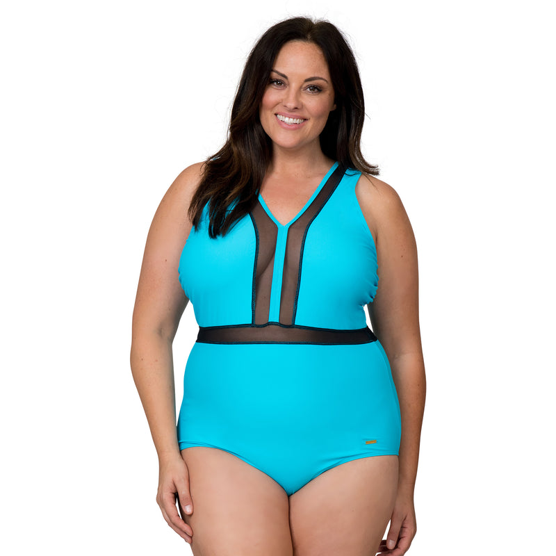 Nicole Miller Women's Plus Size Sporty 1 Piece Swimsuit