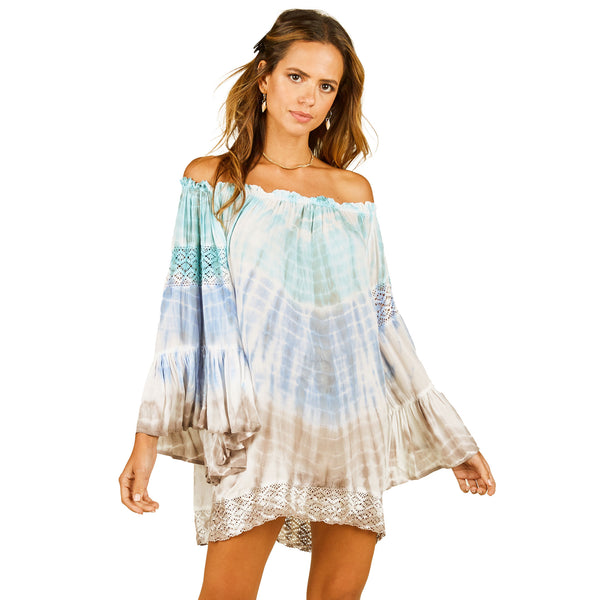 Surf Gypsy Tie Dye Blouse Cover Up w/ Crochet on Sleeves & Bottom