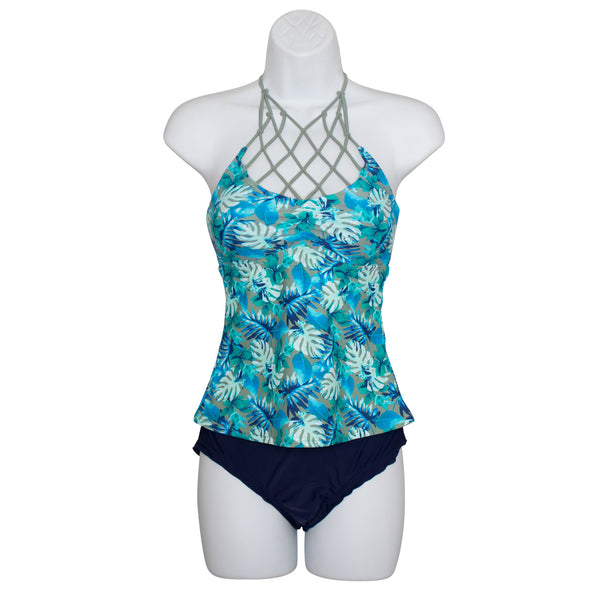 Island Soul Junior Palm High Neck Tankini Swimsuit Set