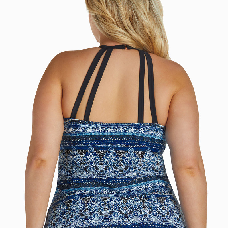 Raisins Women's Plus Size Mosaic High Neck Tankini Set