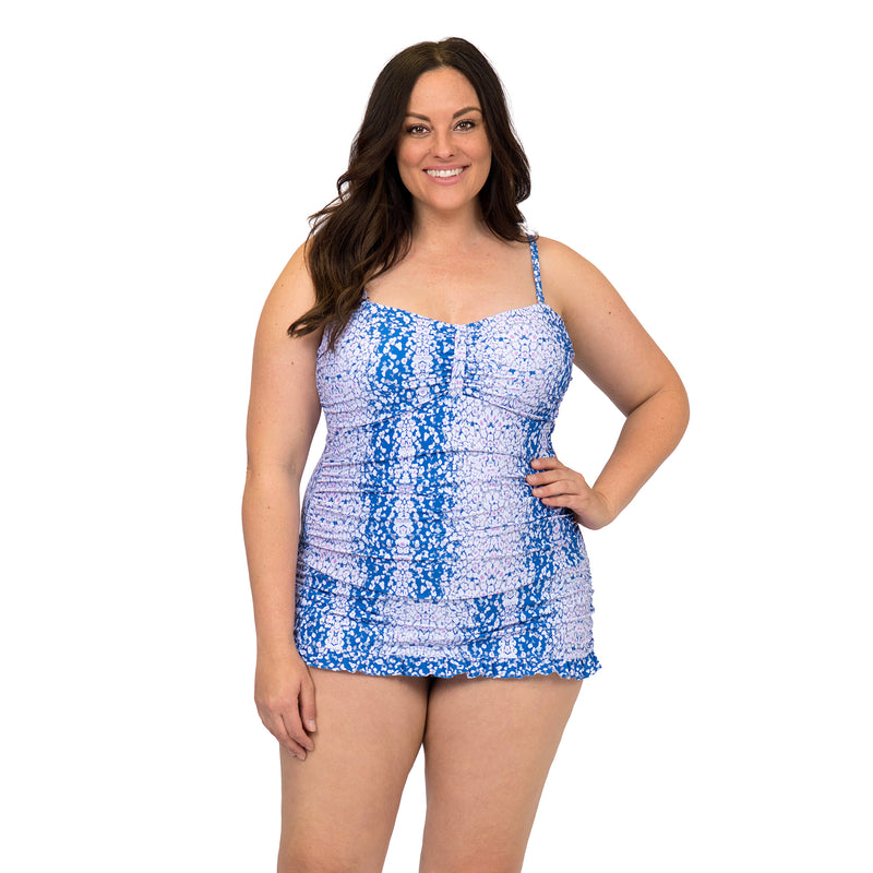 Beach Party Women's Plus Size Blue Swimdress Style Swimsuit