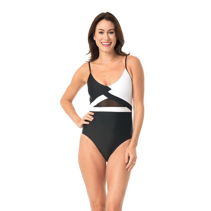 Caribbean Sand Women's Sporty Color Block 1 Piece Swimsuit with Mesh Detail