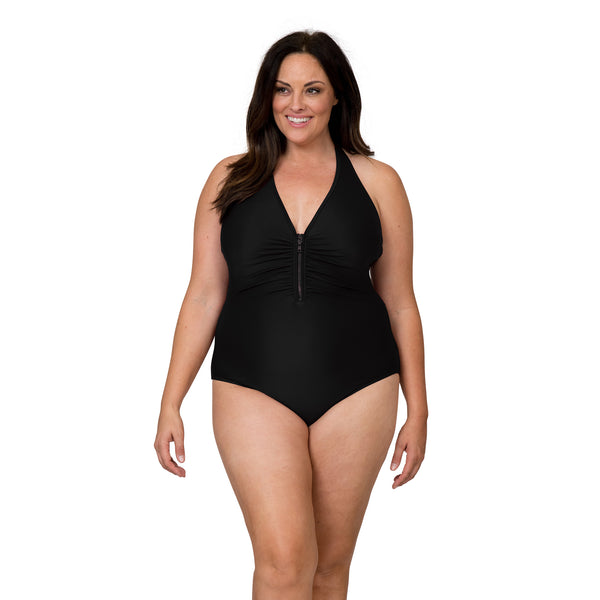 Sun & Sea Women's Plus Size Halter Style 1 Piece Swimsuit