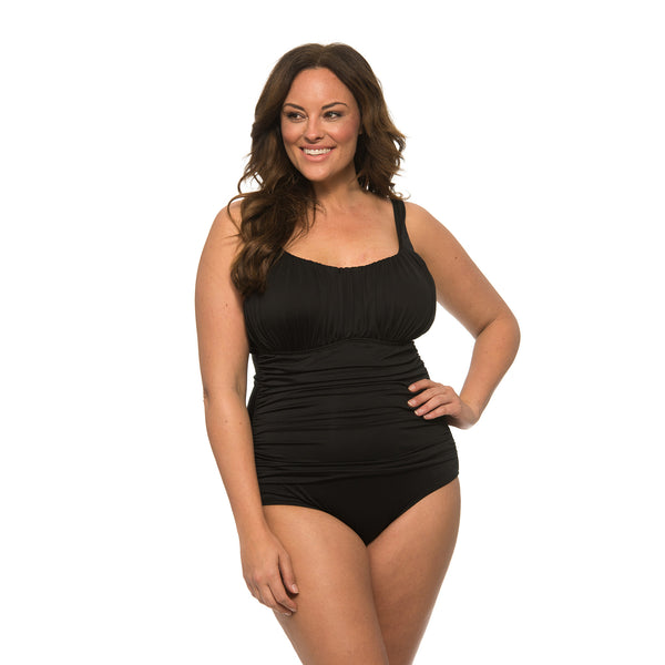 Caribbean Sand Women's Plus Size Ruched 1 Piece Black Swimsuit