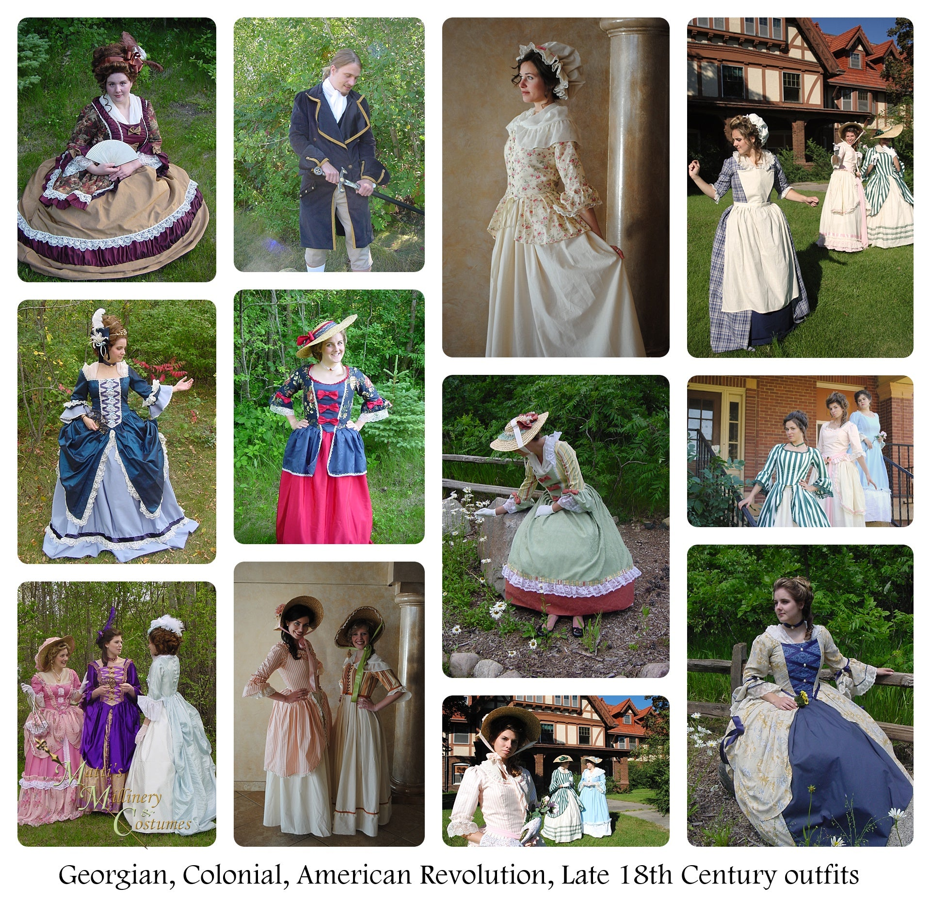 Georgian, late 18th Century, Rococo, Colonial, American Revolution Dresses and Gowns