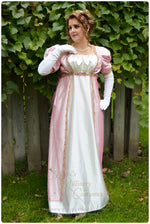 Load image into Gallery viewer, Pink Net Madeline Regency Jane Austen Ball Gown Evening Dress in satin & sari net