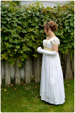Load image into Gallery viewer, White Gold Cotton Jane Austen Style REGENCY Ball Day Gown Ball Dress front